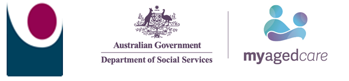 My Aged Care Logo Combined with GCSS logo and Australian Department of Social Services